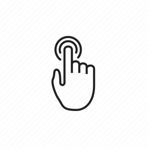 cursor, hand, hold, press, single, tap icon