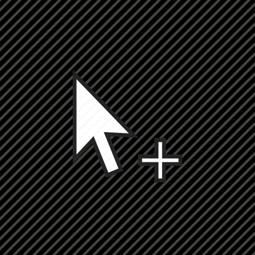 add, arrow, cursor icon