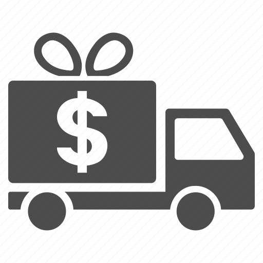 cargo taxi, dollar, free service, gift delivery, logistics, shipping, transportation icon