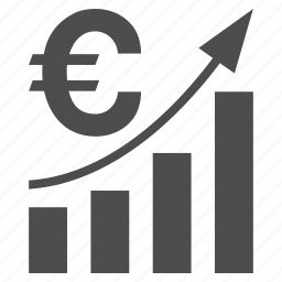 analysis, bar chart, euro, financial report, money, sales trend, statistics icon