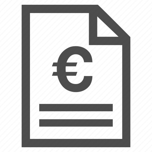 bill certificate euro invoice page order payment receipt icon