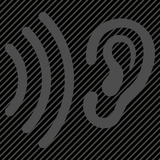 audio, ear, hear, listen, news, sound signal, voice icon