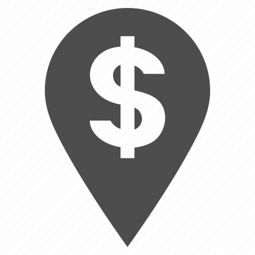 bank pointer, business, dollar, location, map marker, pin, place icon