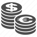 bank, business, coin columns, dollar, euro, money, stacks icon