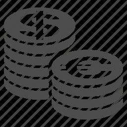 bank, business, coin columns, dollar, euro, money, stacks icon