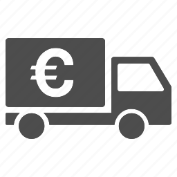 cash delivery, collector car, euro shipment, finance, money transfer, payment, transport icon