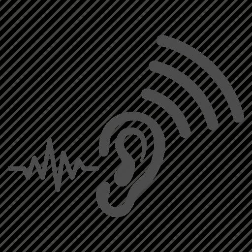 ear, hear, hearing, listen, sound signal, speaker, transmit icon