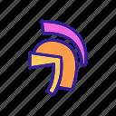 contour, gladiator, greek, helmet, knight, warrior icon