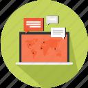 communication, laptop, locator, map, marketing, speech bubble icon