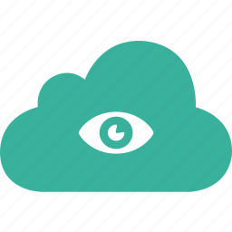 cloud, eye, monitor, view, watch icon