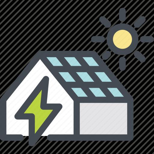 ecology, energy, green, green energy, house electricity, solar house, sun icon