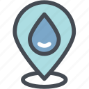 ecology, energy, location, pin, river source, water, watershed location icon