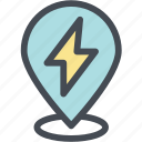 ecology, energy, energy location, green, location, pin, power icon