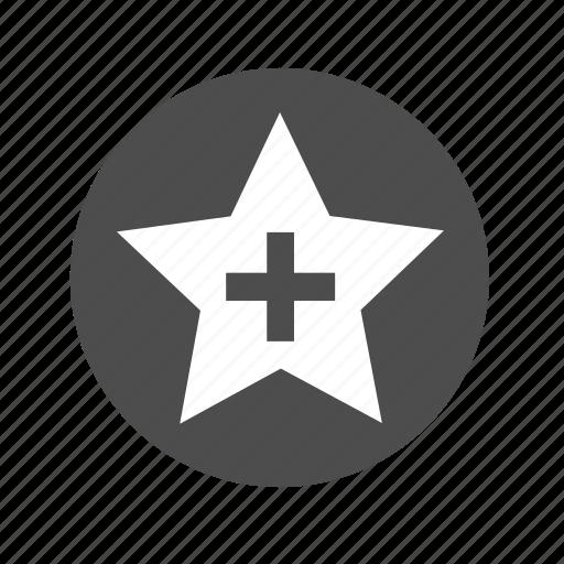 add, bookmark, circle, favorite, favorito, plus, star icon
