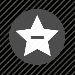 bookmark, estrella, favorite, favorito, menos, minus, star icon