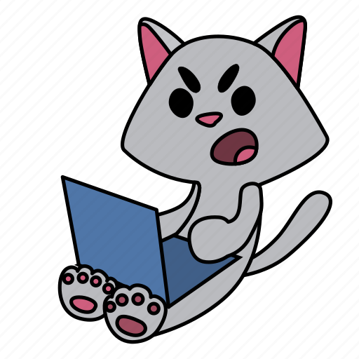 angry, cat, character, computer, laptop, sitting icon