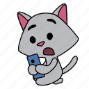 cat, character, confused, hold, look, sitting, smart phone icon