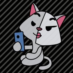 face, girl, half, make-up, making selfie, sitting, smart phone icon