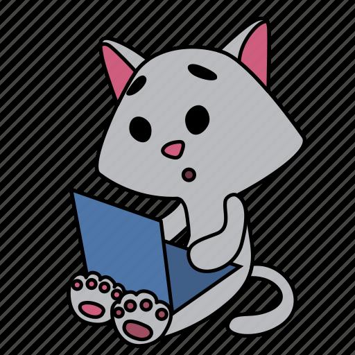boy, cat, character, computer, laptop, sad, sitting icon