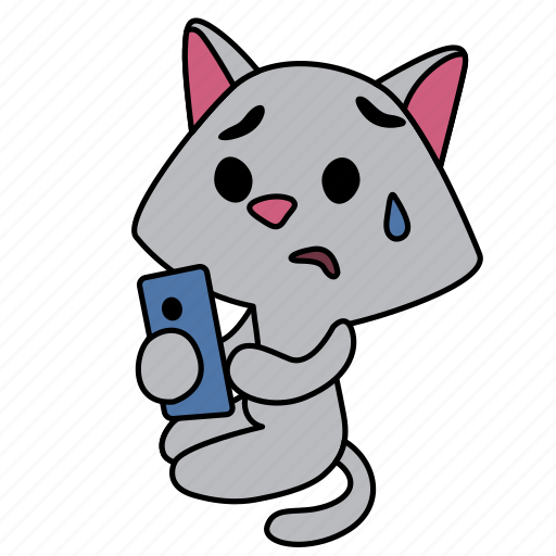 cat, character, girl, look, sad, sitting, smart phone icon
