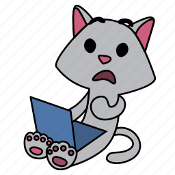 cat, character, computer, confused, laptop, shocked, sitting icon