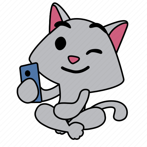 cat, character, sitting, smart phone, smile, wink icon
