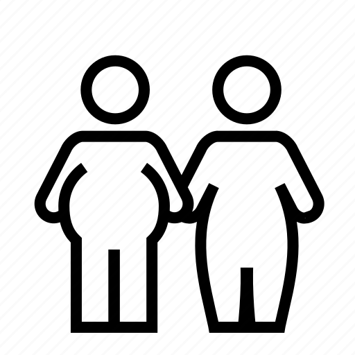 couple, fat, line, marriage, obese, relation, together icon