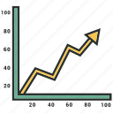 arrow, bars chart, business, chart, diagram icon