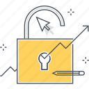 arrow, chart, cursor, growth, hacking, lock, statistics icon