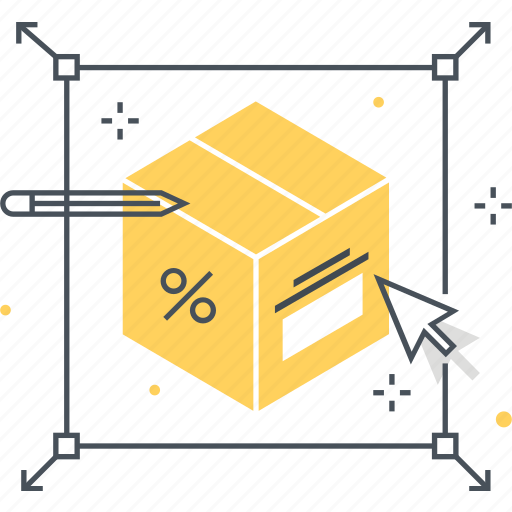 box, cursor, discount, growth, percent, product, strategy icon