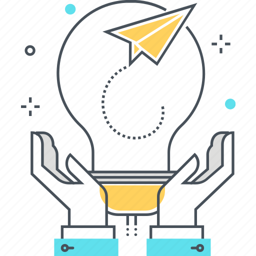 creativity, hand, lamp, paper, plane, start up icon