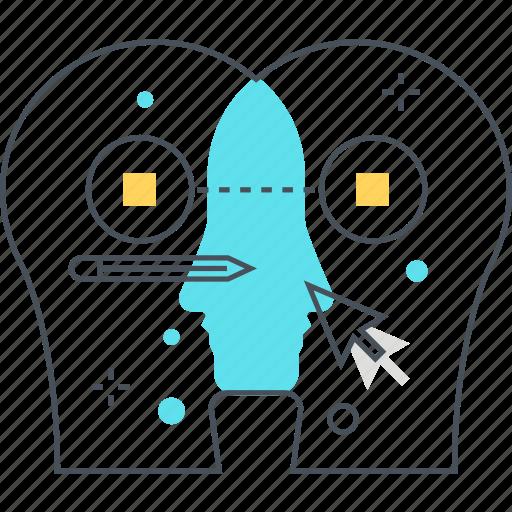 cursor, face, idea, marketing, mouth, referrals, social media icon