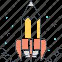 company, idea, pencil, rocket, start, up