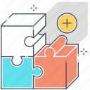 box, fit, jigsaw, market, product, puzzle, solving icon