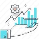business development, chart, finance, growth hacking, hand, performance, statistics icon