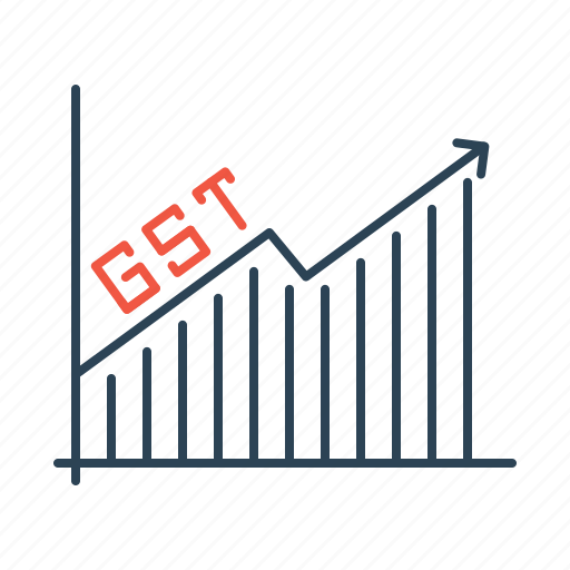 analysis, graph, gst, increase, tax icon