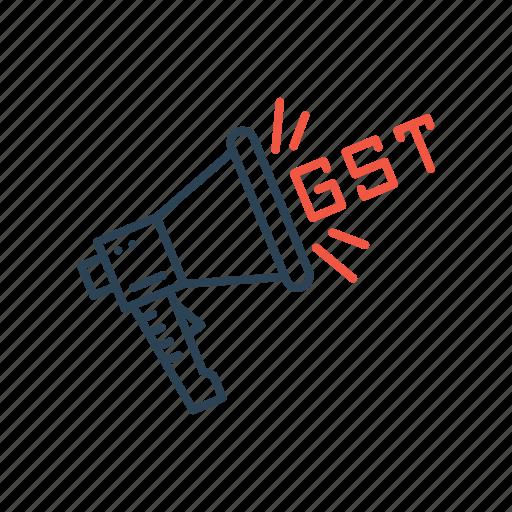 announcement, bill, gst, promotion icon