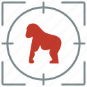 animal, gorilla, hunting, monkey, shoot, zoo icon