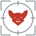 bat, face, hunting, shoot icon