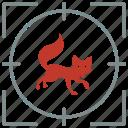 animal, fox, hunting, predator, shoot, wild icon
