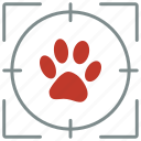 animal, footstep, hunting, shoot, trail, zoo icon