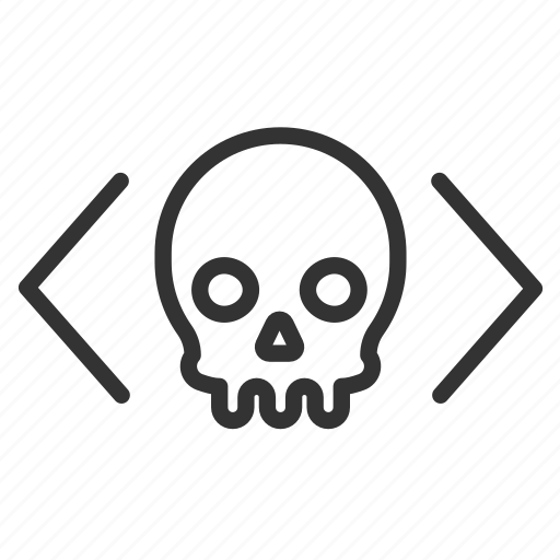 code, crime, cyber, hack, malicious, malware, software icon