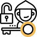 unlock, key, hacking, thief, insecure icon