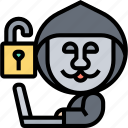 hacker, computer, insecure, programmer, cybercrime icon