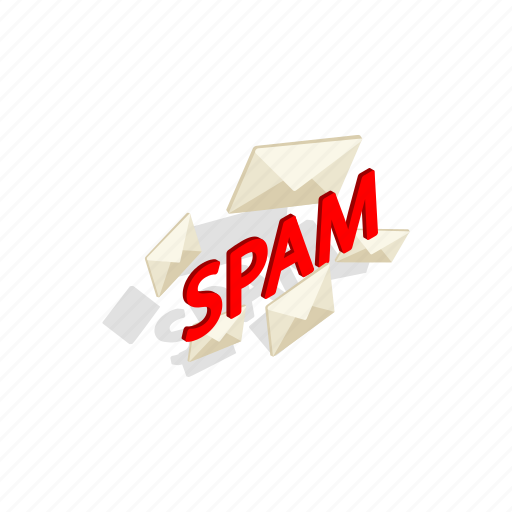 email, internet, isometric, junk, mail, spam, word icon