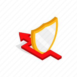arrow, isometric, protection, safety, security, shield icon
