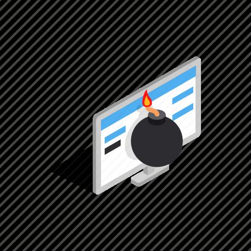 bomb, computer, danger, image, internet, isometric, monitor icon