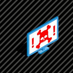 bone, computer, internet, isometric, monitor, skull, technology icon