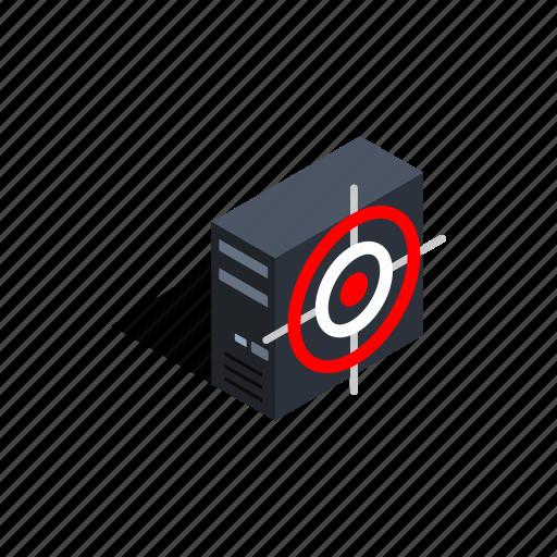 bug, case, computer, isometric, target, technology, virus icon