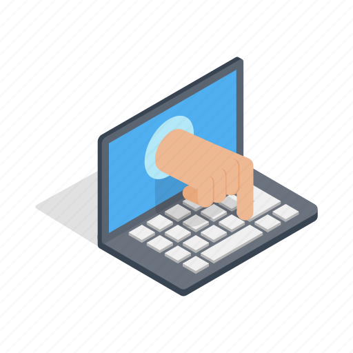 computer, crime, hacker, hand, internet, isometric, security icon